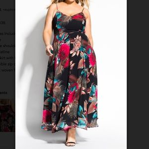 City Chic Palm-Print Maxi Dress XL/22